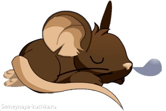 мышь спит комочком