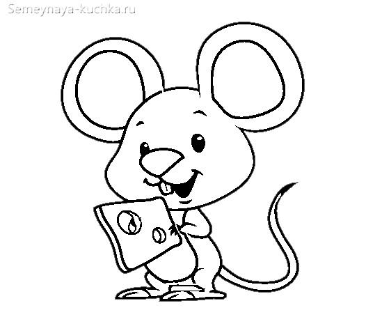 раскраска мышка держит сыр