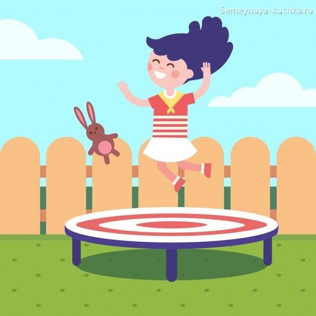 картинка девочка прыгает на батуте