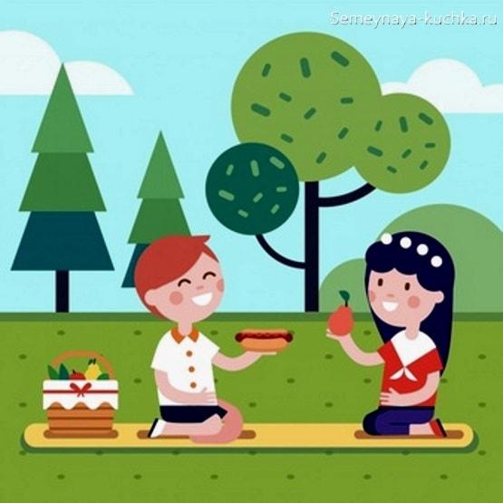 картинка дети устроили пикник на природе