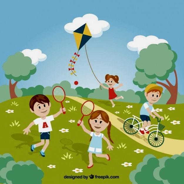 картинка дети играют в бадминтон