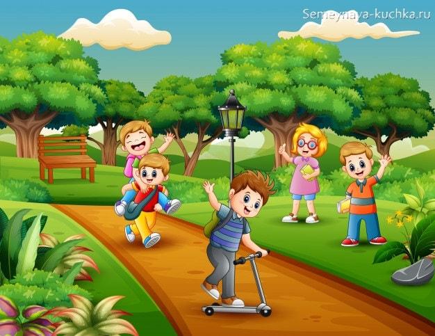 картинка дети катаются на самокате