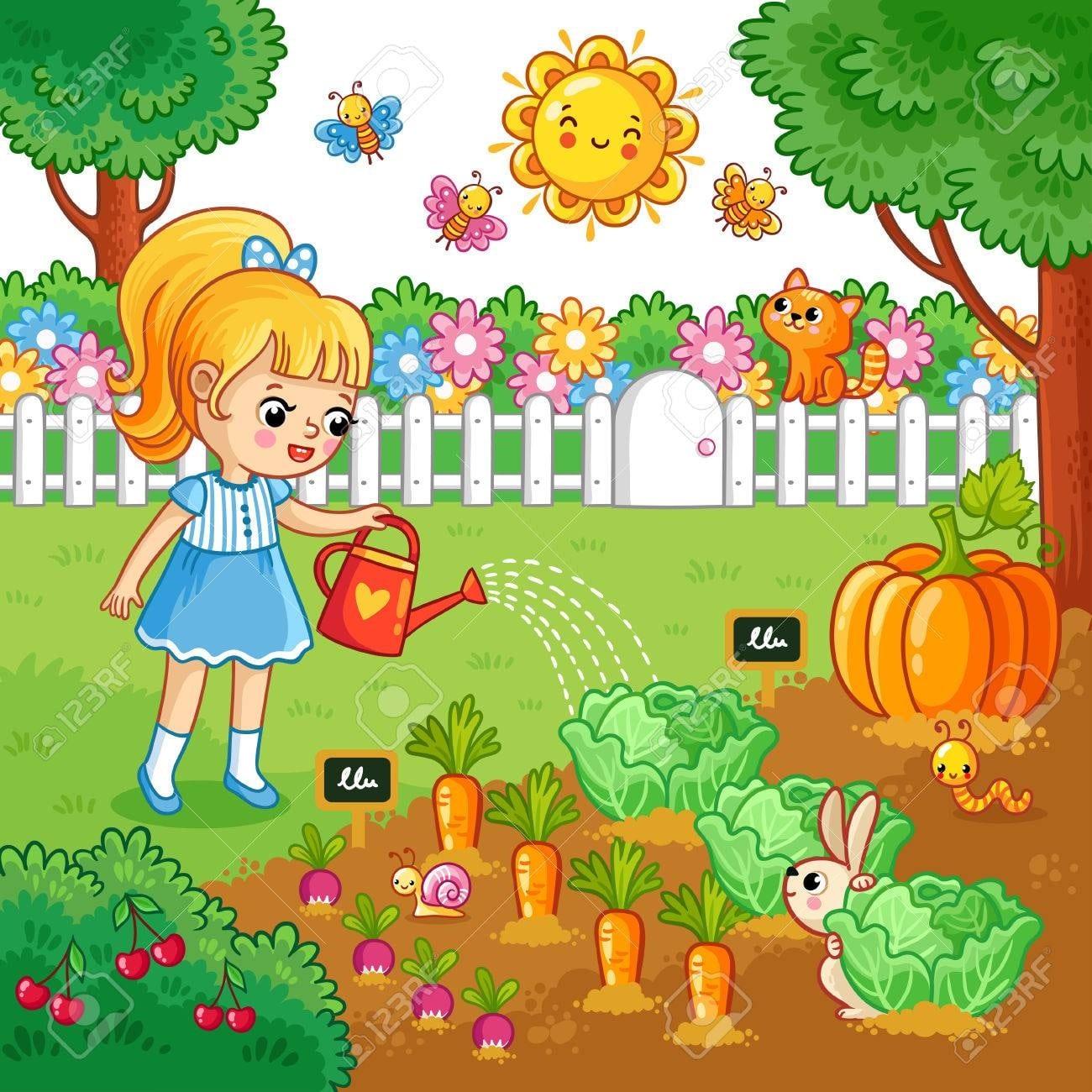 картинка дети помогают в огороде поливают грядки