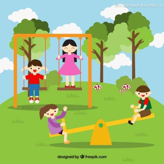 картинка дети качаются на качелях