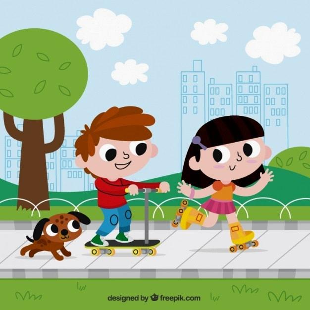 картинка дети катаются на роликах и самокате