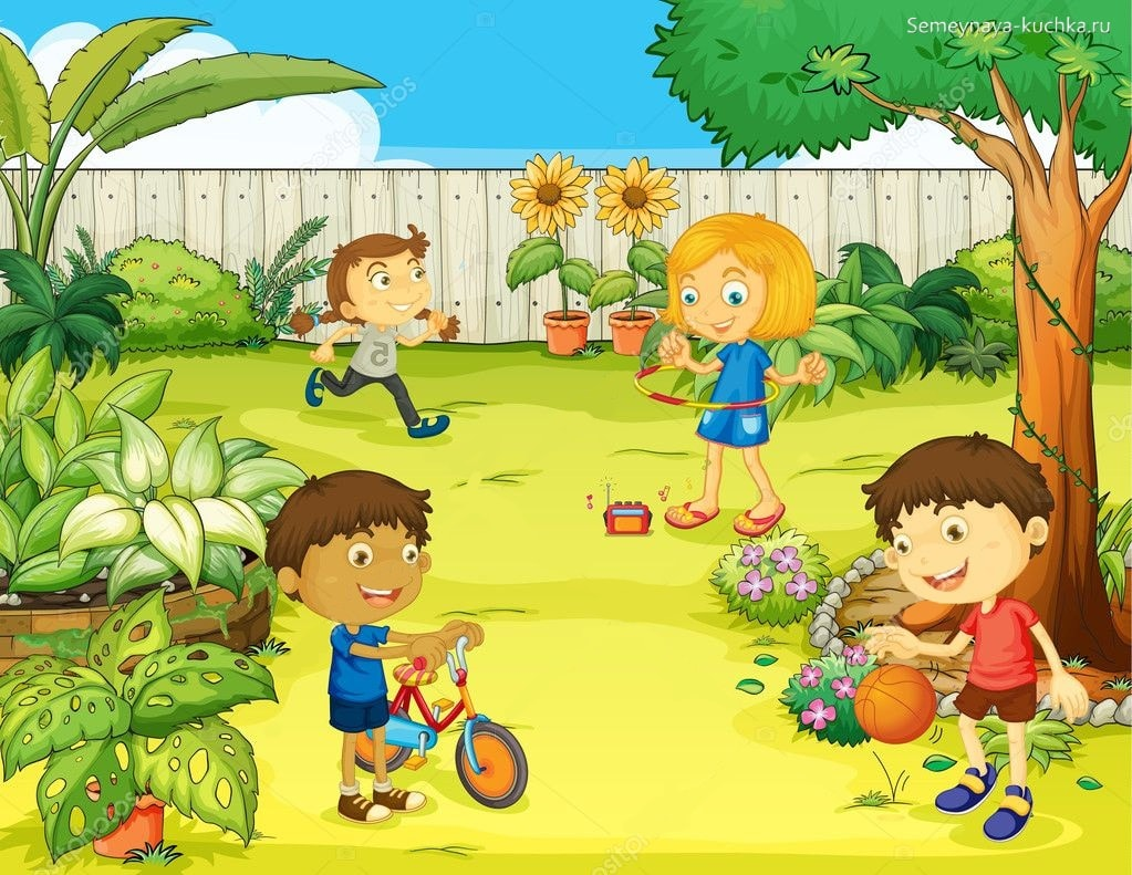 картинка дети играют на прогулке