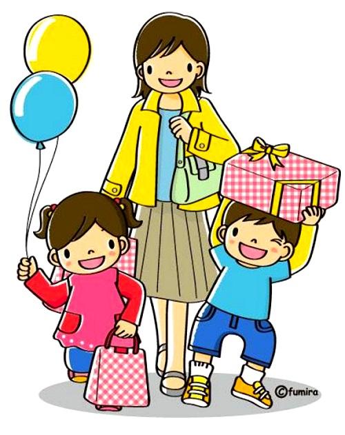 картинка дети с мамой идут из магазина