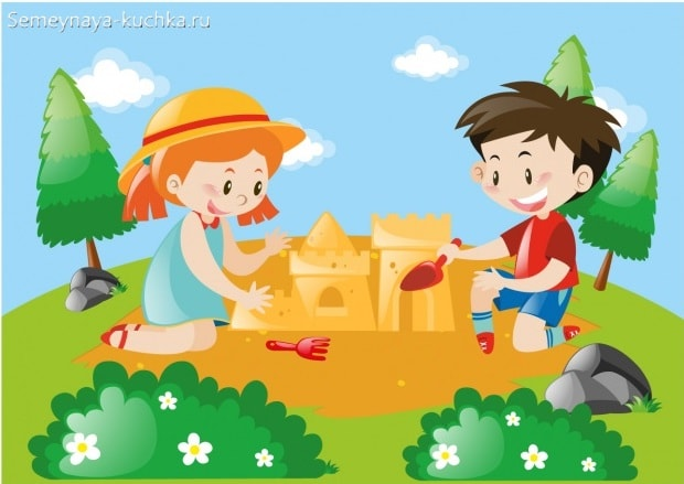 картинка дети строят дом из песка