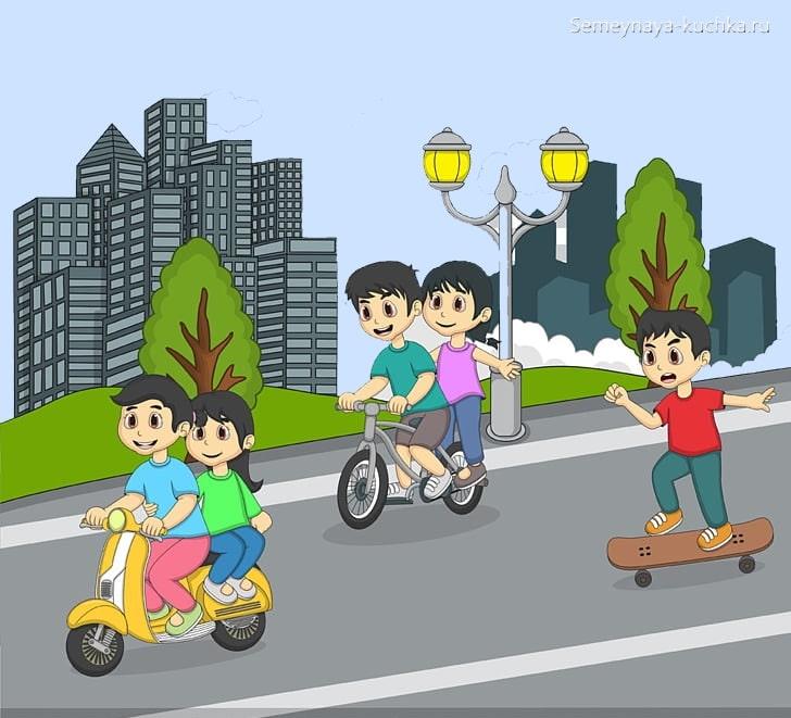 картинка дети катаются на велосипеде