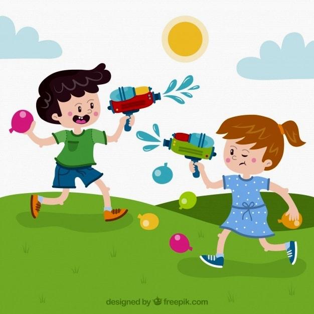 картинка дети играют с водой и водяными пистолетами