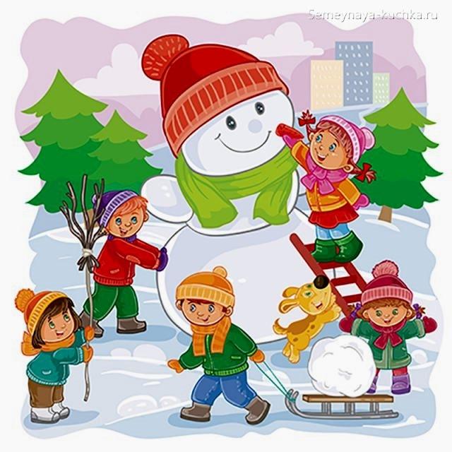 картинка дети строят снеговика