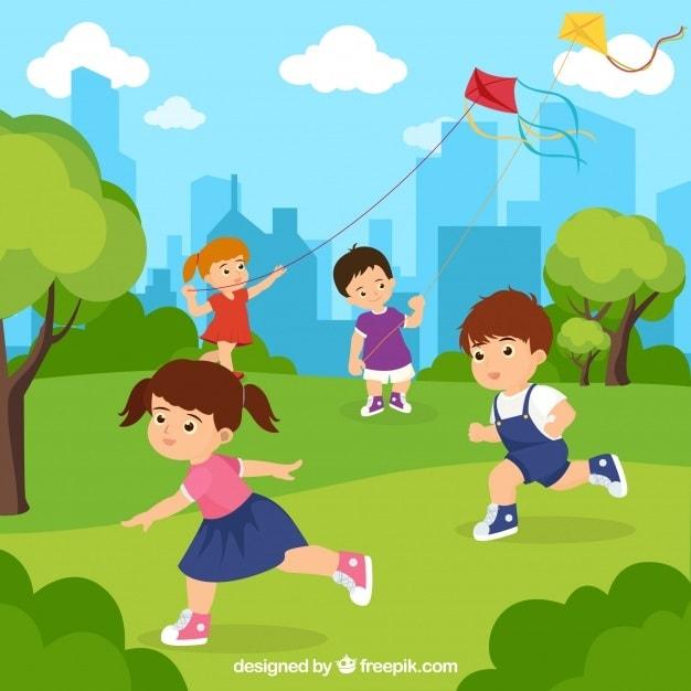 картинка дети запускают воздушного змея