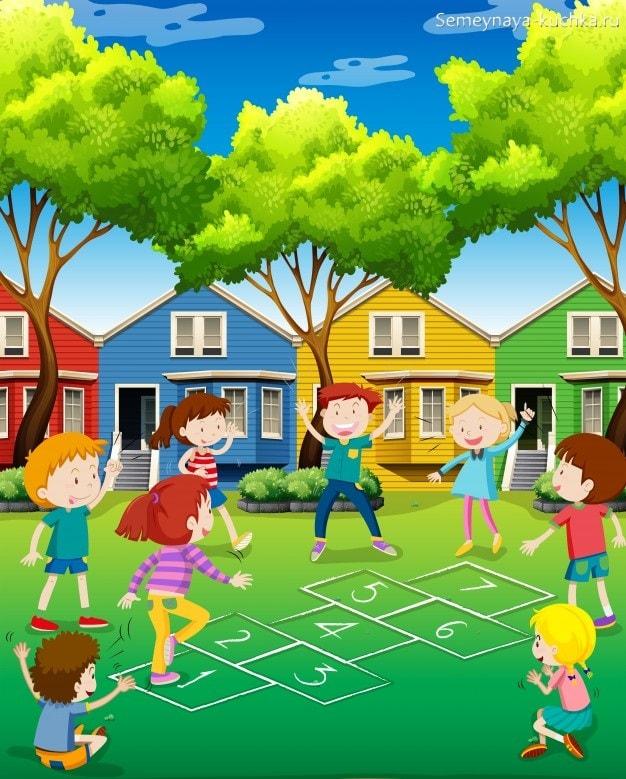 картинка дети играют в классики прыгают