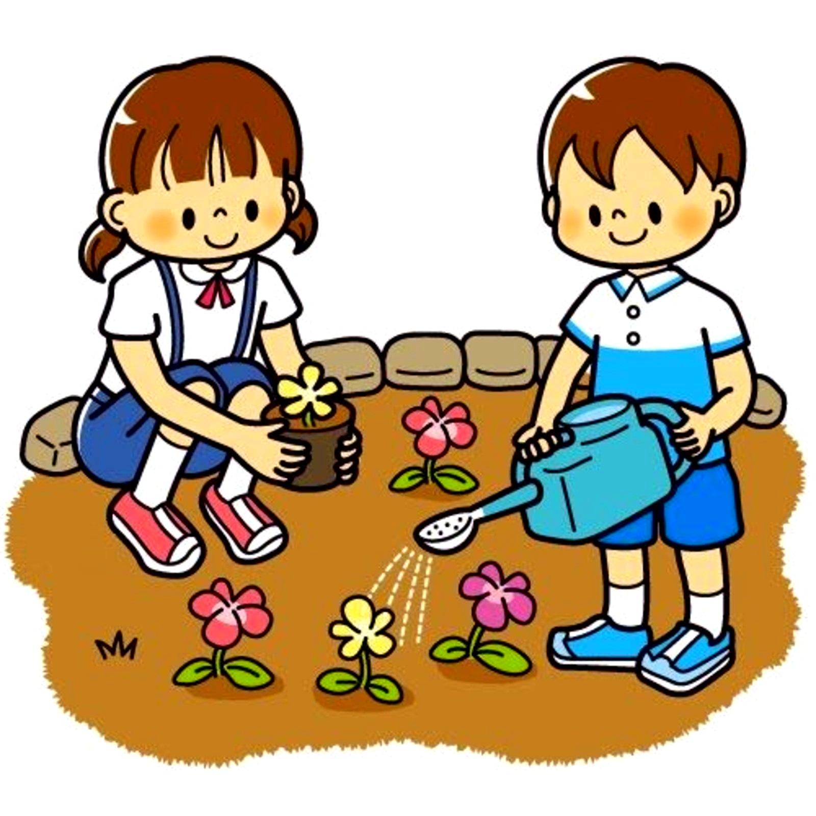 картинка дети поливают клумбу