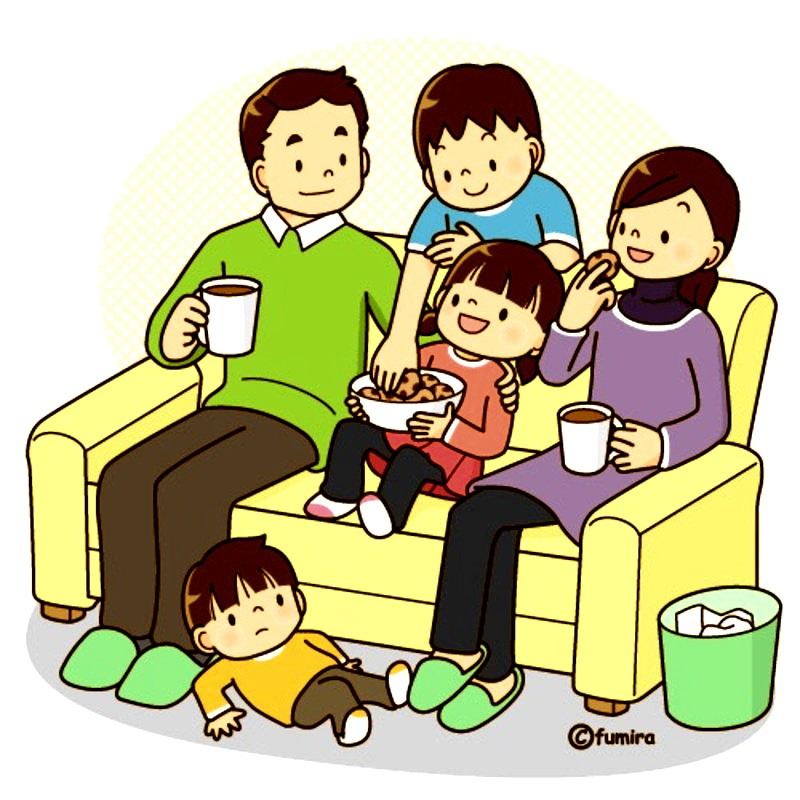 картинка дети в семье вечером
