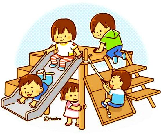 картинка дети на прогулке лазают на игровом оборудовании