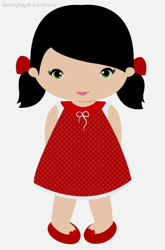 картинка девочка в красном платье