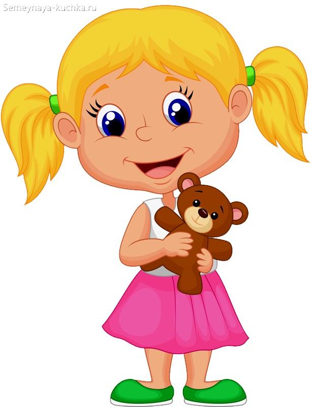 картинка девочка держит мишку