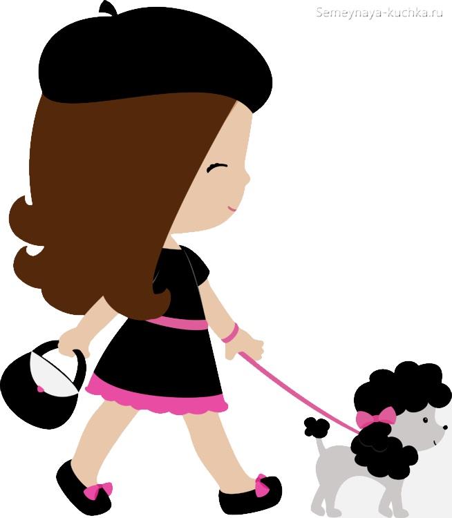 картинка девочка ведет собачку на поводке