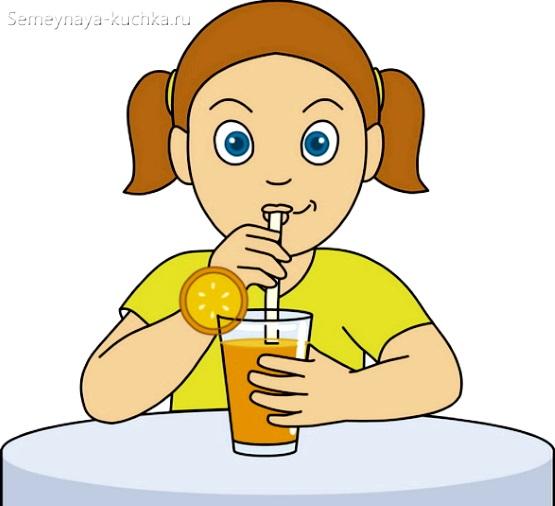картинка девочка пьет сок из фруктов