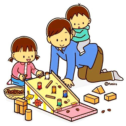 картинка дети играют с папой