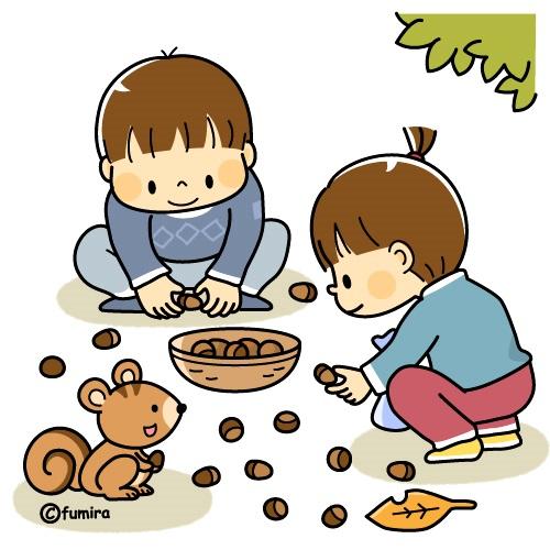 картинка дети собирают желуди