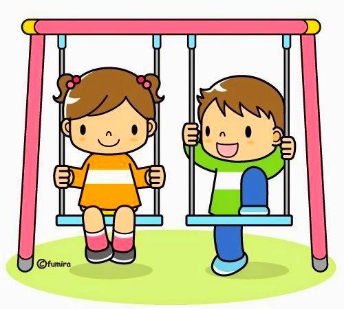 картинка дети на качелях в детском садуу