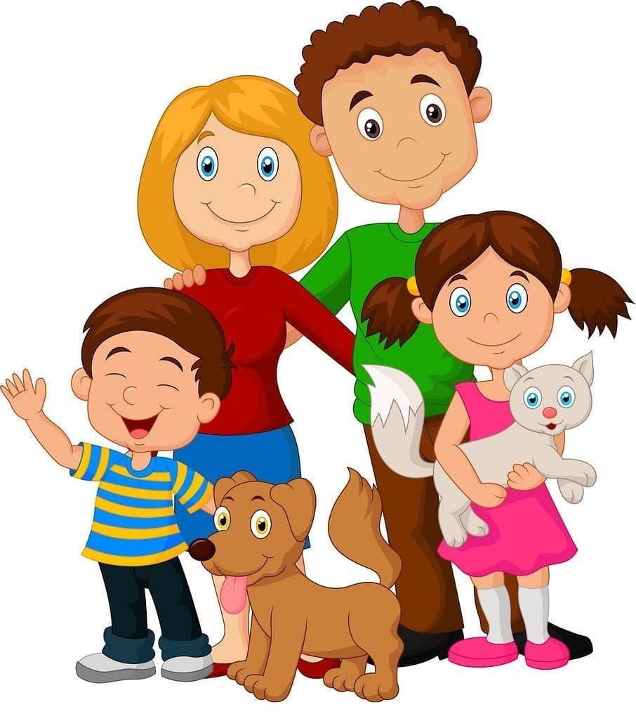 картинка дружная семья с кошкой и собакой