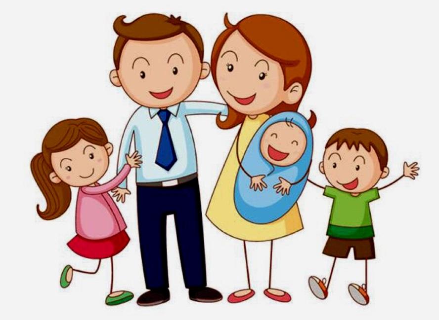 картинка семья с тремя детьми и младенцем