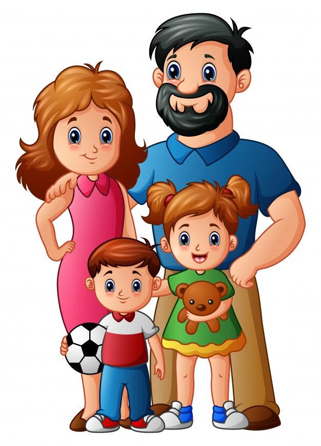 картинка семья с мальчиком и девочкой