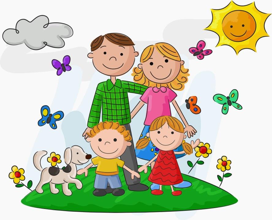 картинка семья на природе