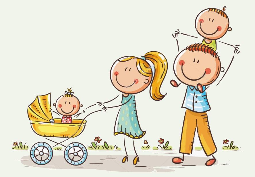 картинка семья на прогулке с каляской