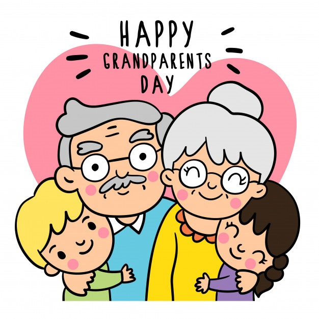 картинка семья дети у бабушки и дедушки