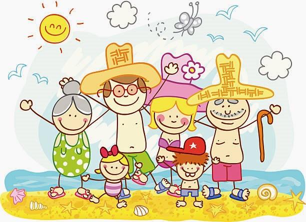 картинка семья летом на пляже