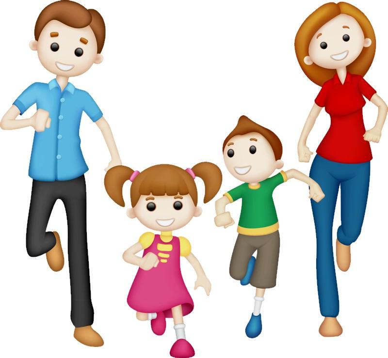 картинка семья бежит