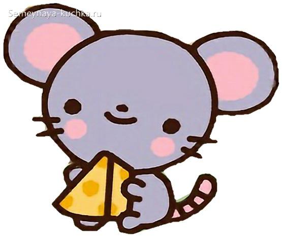 детская картинка мышка с сыром