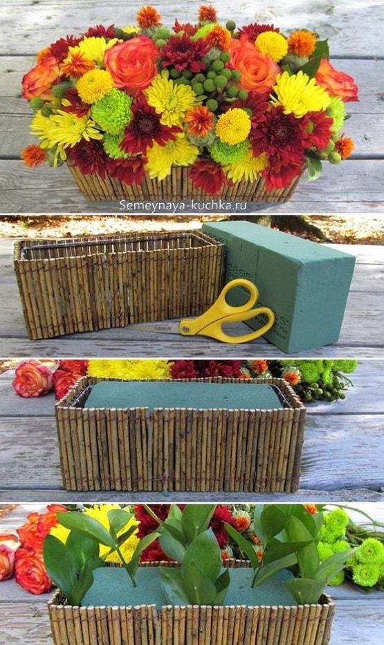 как делать осенний букет в флористической губке