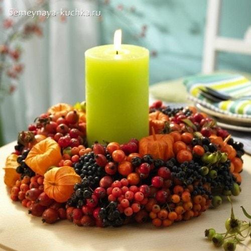осенний букет со свечой украшение на стол