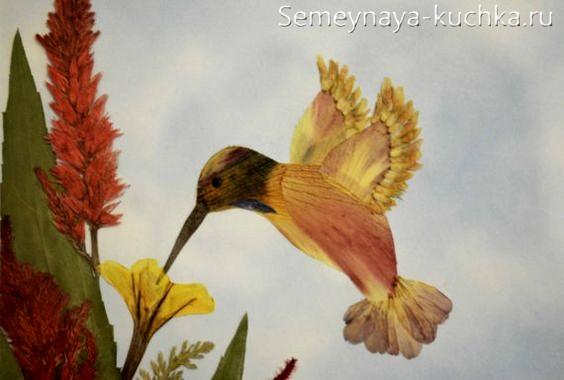осенняя поделка картина из листьев и цветов