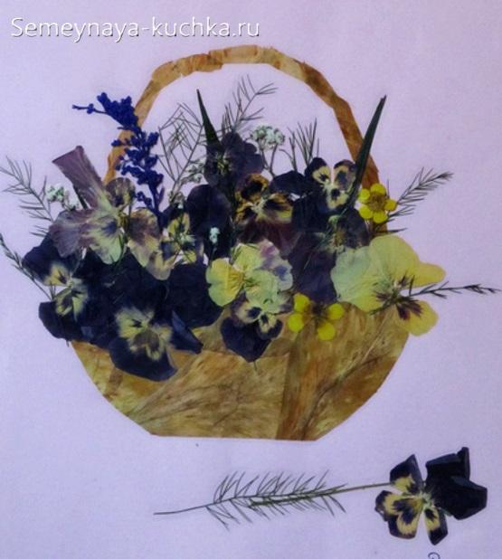 осенняя поделка аппликация цветы в корзине