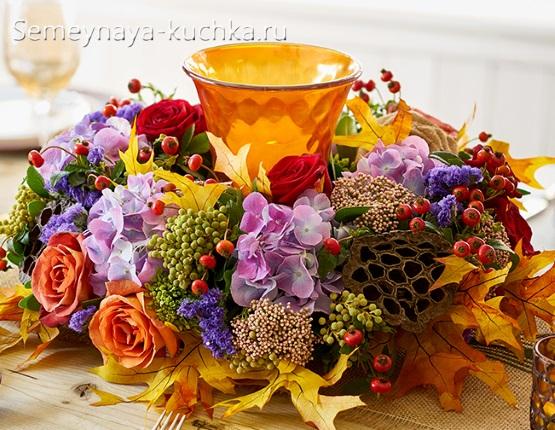 осенняя поделка композиция с шишками и цветами