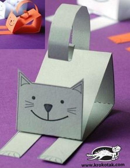 на 1 класс быстрая поделка из бумаги котик