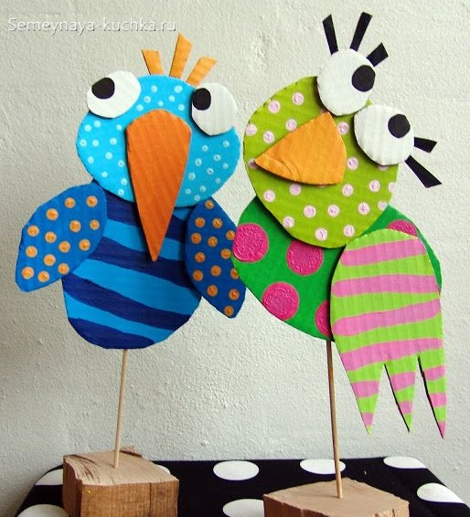 поделка из картона и красок птицы на 4 года