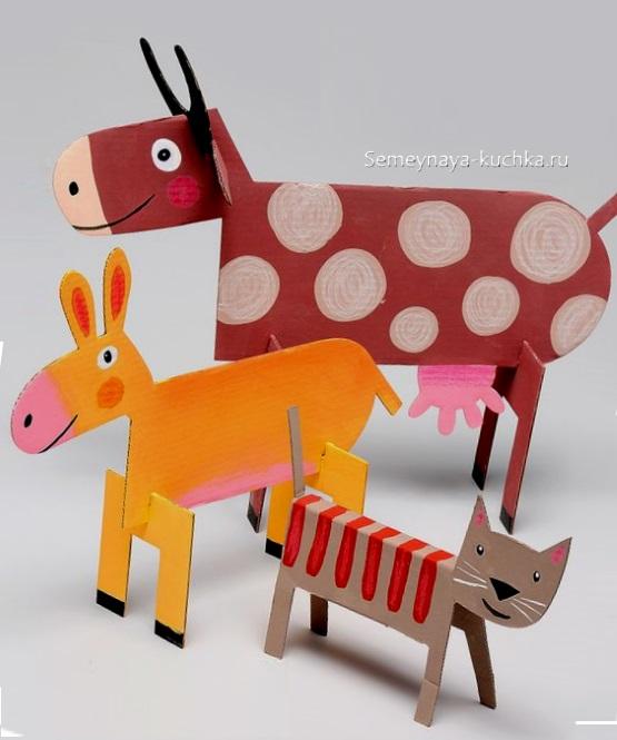 легкие поделки из картона животные фермы