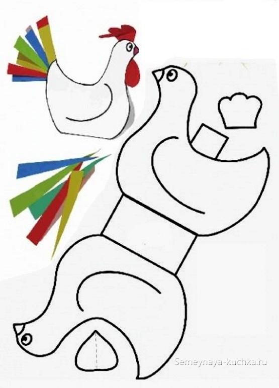 легкая поделка из картона для начальной школы петух