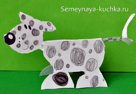 поделки 3D из картона собака