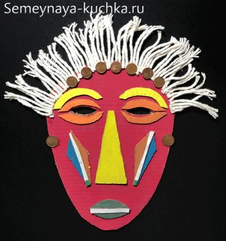 поделка детская из картона индейская маска