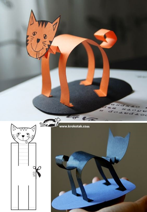 поделка на 2 класс котик из бумаги