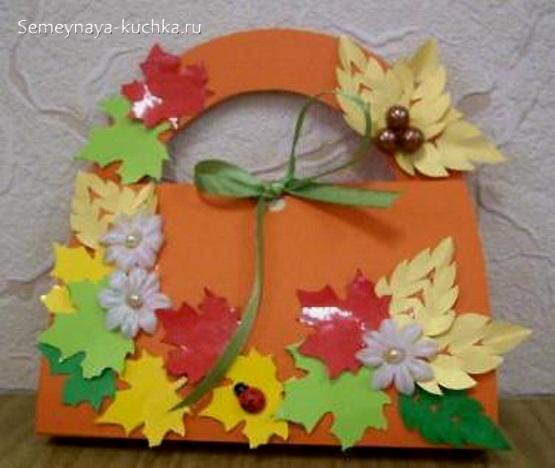 простая осенняя поделка корзина листьев