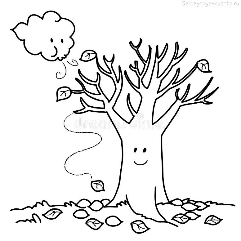 раскраска осеннее дерево на ветру